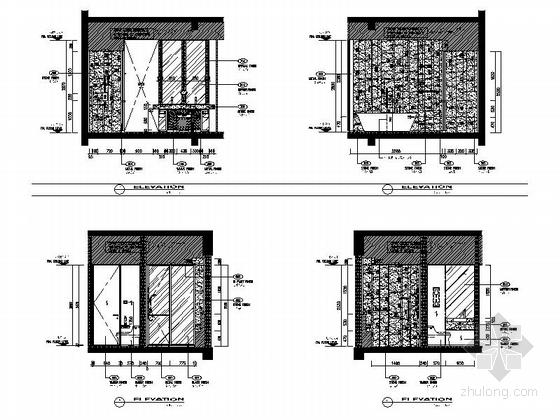 [四川]全球最大酒店客房电梯厅室内装修设计施工图(含方案效果)卫生间立面图