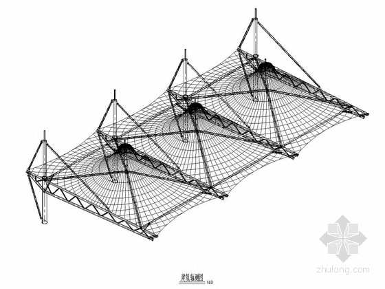 骨架支撑式膜结构看台遮阳膜及土建看台结构施工图(含建筑图)