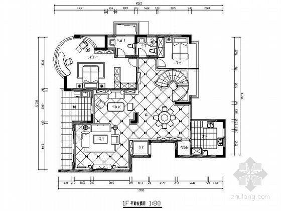 [南宁]高档复式欧陆风格样板房室内装修施工图(含效果)