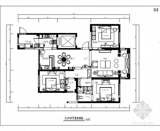[原创]高端法式风格三居室室内装修二次改造施工图