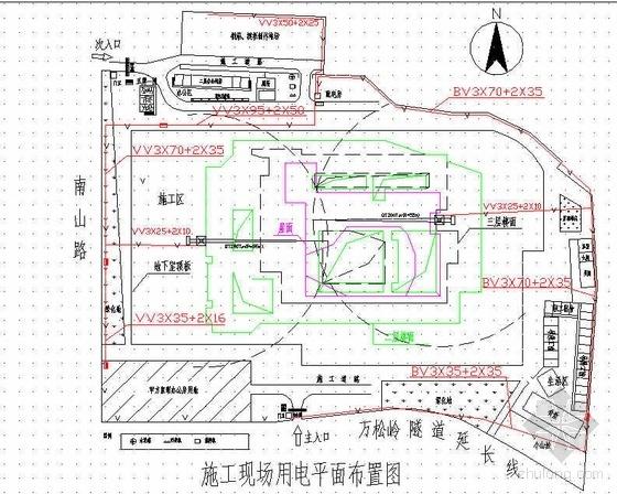 浙江某展览馆施工现场临水临电平面布置图