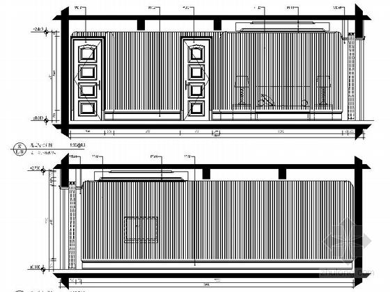 美式风格三居室设计装修图(含效果)儿童房立面图