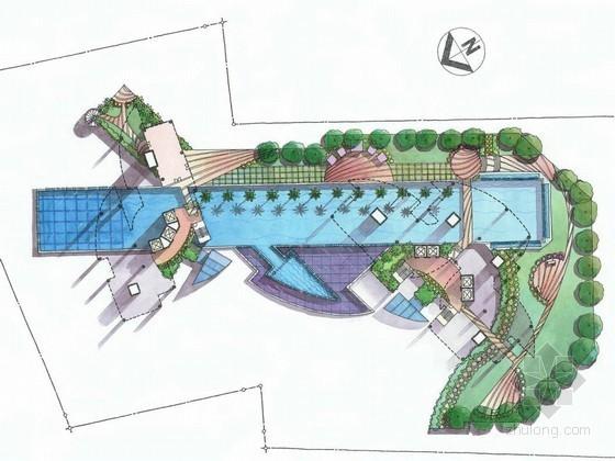 [新加坡]高层酒店周边环境景观设计手绘方案