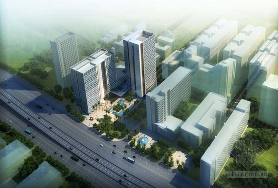 [广州]现代典雅实用型塔式及板式办公楼建筑设计方案文本
