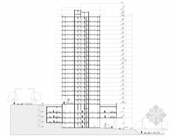 超高层artdeco风格住宅区剖面图