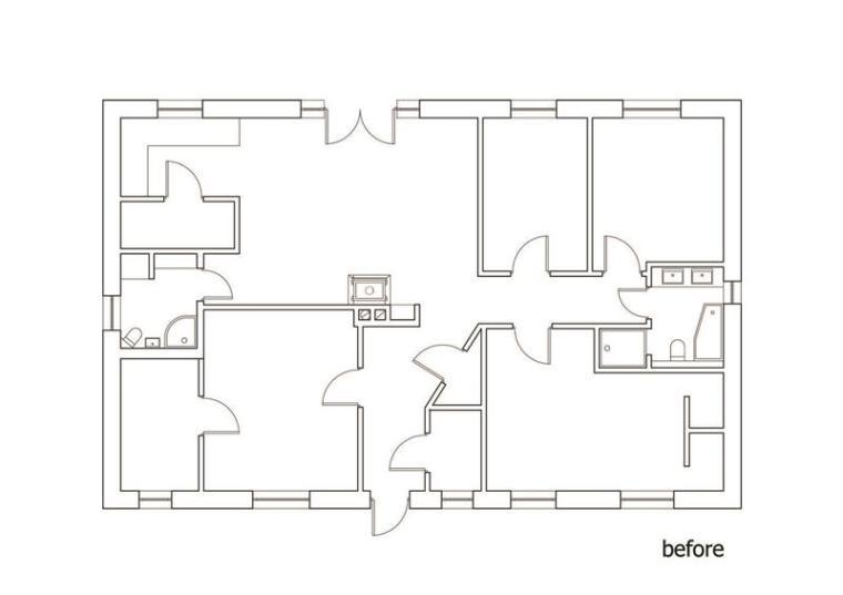 阳光是最好的装饰,穿孔住宅的奇妙变幻-平面图
