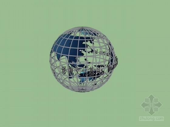 钢架地球小品sketchup模型下载