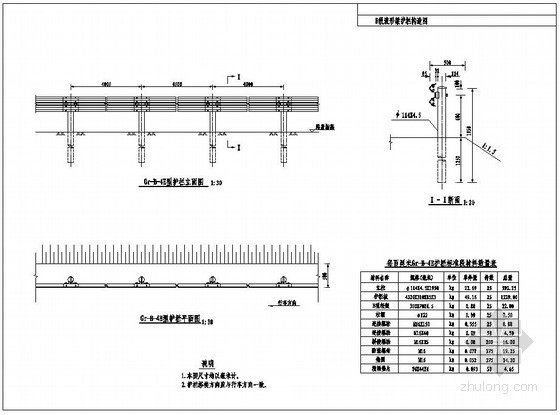 B级波形梁护栏构造图
