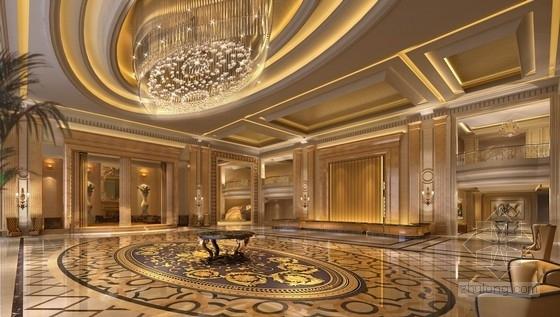 [天津]渤海之巅度假旅游区铂金超五星级酒店设计方案大堂效果图
