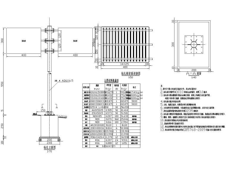 高速公路工程双悬臂式标志结构设计图(含计算书)