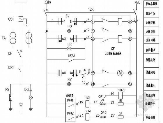XGN柜二次控制与继电保护原理图