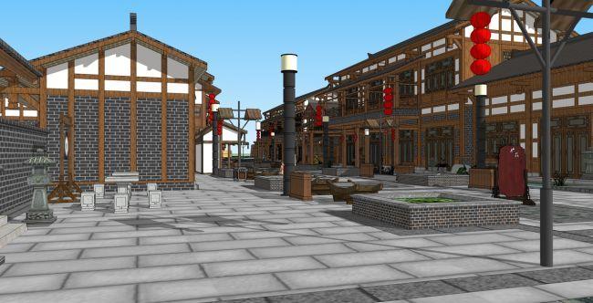 商业街中式建筑su模型