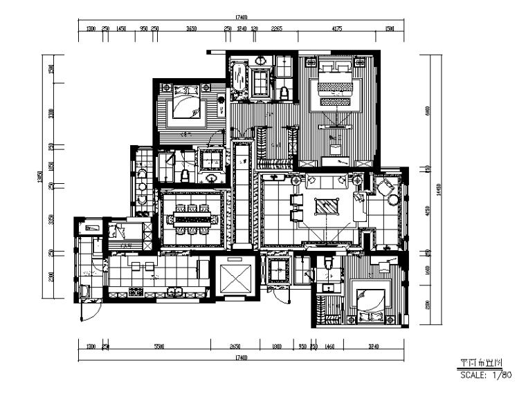 200平现代风格样板房CAD施工图(含效果图)