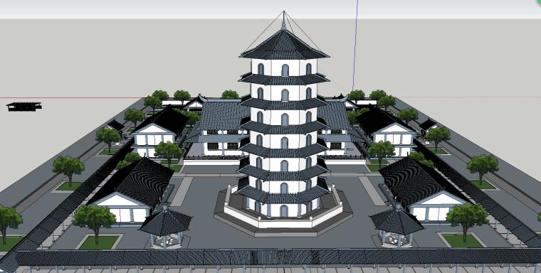 寺庙园林建筑模型(SU模型)-6