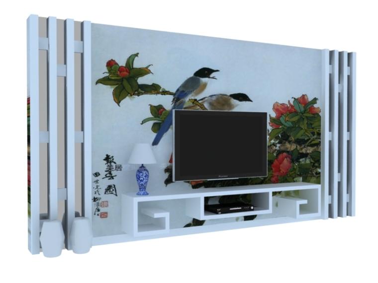 简约中式背景墙3D模型下载