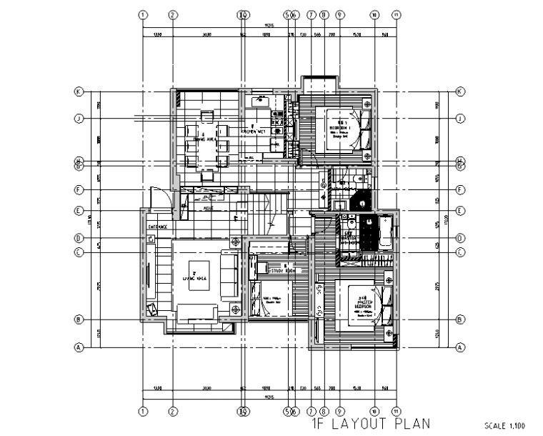 极简主义三居室住宅空间设计施工图(附效果图)