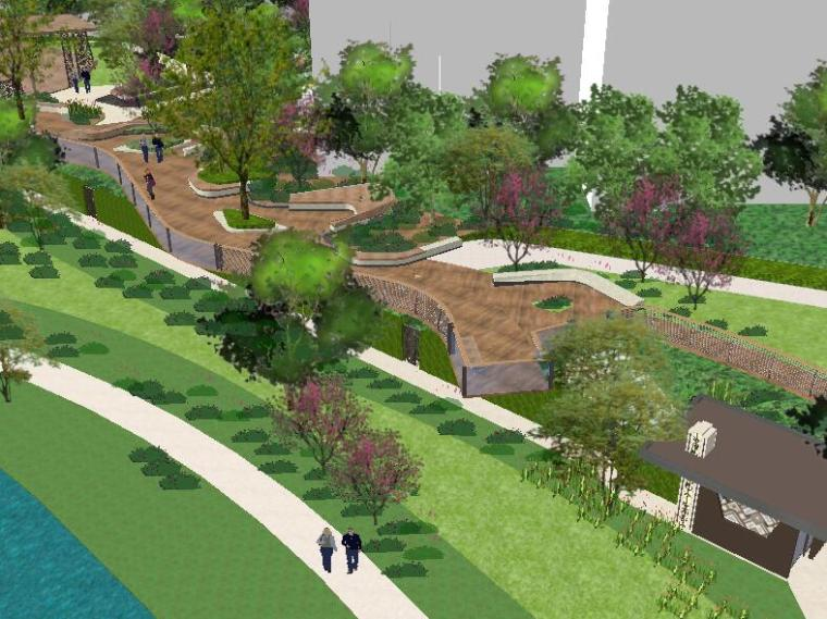 [景观场景模型]现代居住小区景观湿地台地景观模型