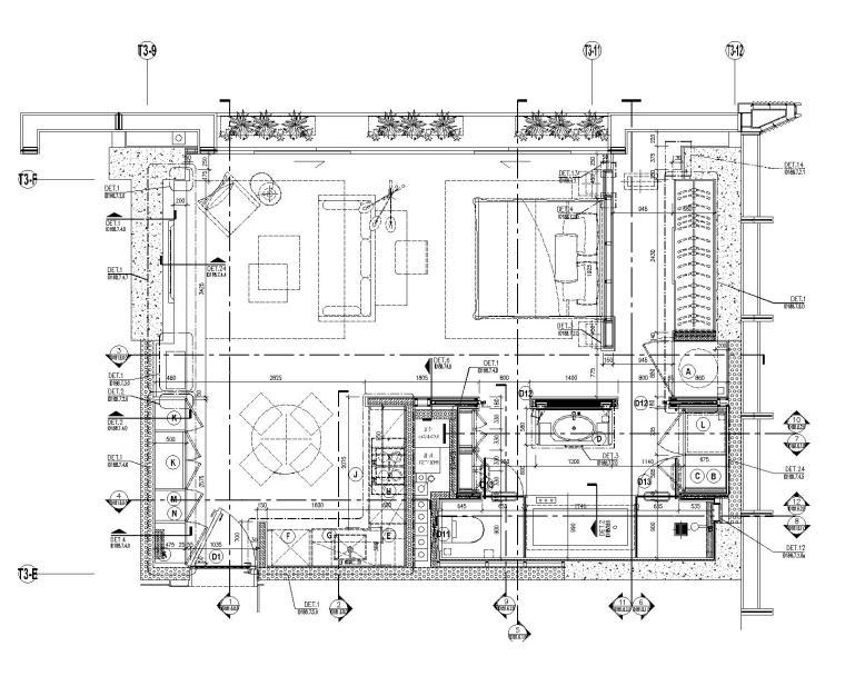 [深圳]华润大涌西塔T3公寓入户大堂+3套样板间施工图+物料表_9