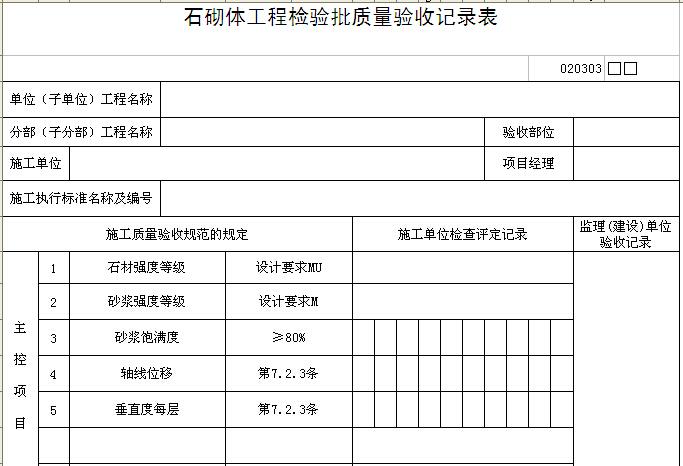 石砌体工程检验批质量验收记录表