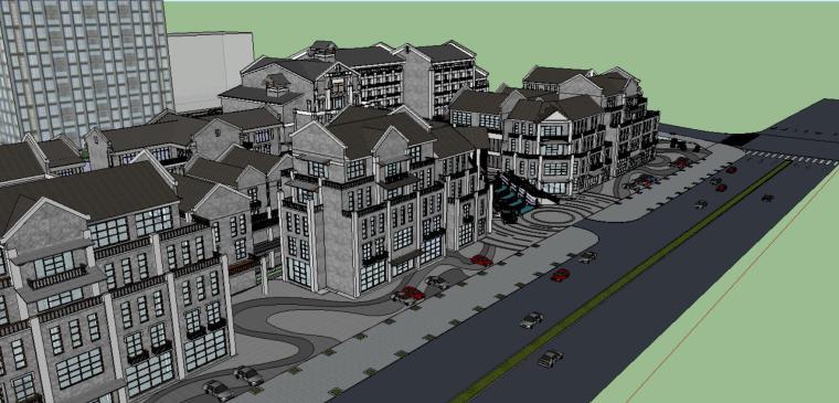 新中式商業街古鎮模型.skp