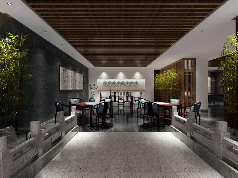 中式汉白玉会客厅3D模型