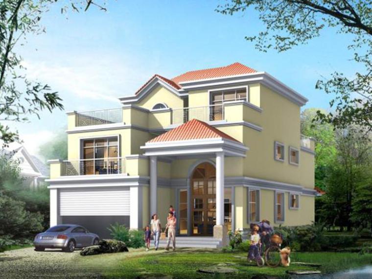 三层欧式建筑别墅方案文本(效果图+CAD)