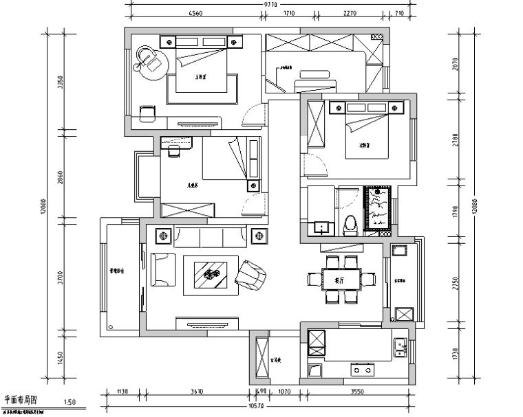 [江苏]美式简约128平米住宅设计施工图(附效果图)