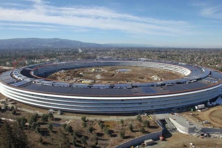 苹果飞船新总部终于要完工了,看看别人家高大上的办公楼!