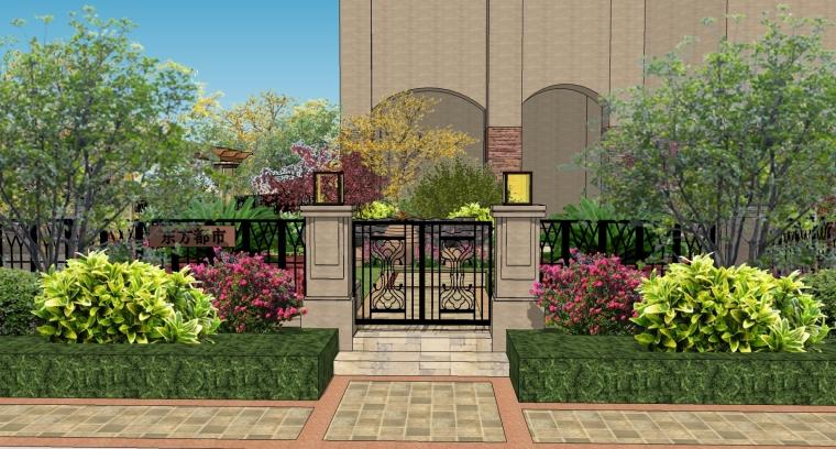 东方都市欧式庭院景观SU模型