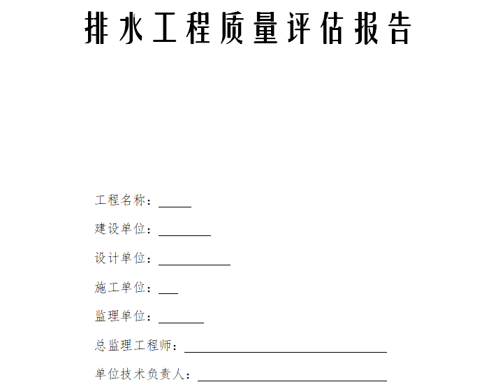 上海海龙工程技术发展有限公司排水工程质量评估报告