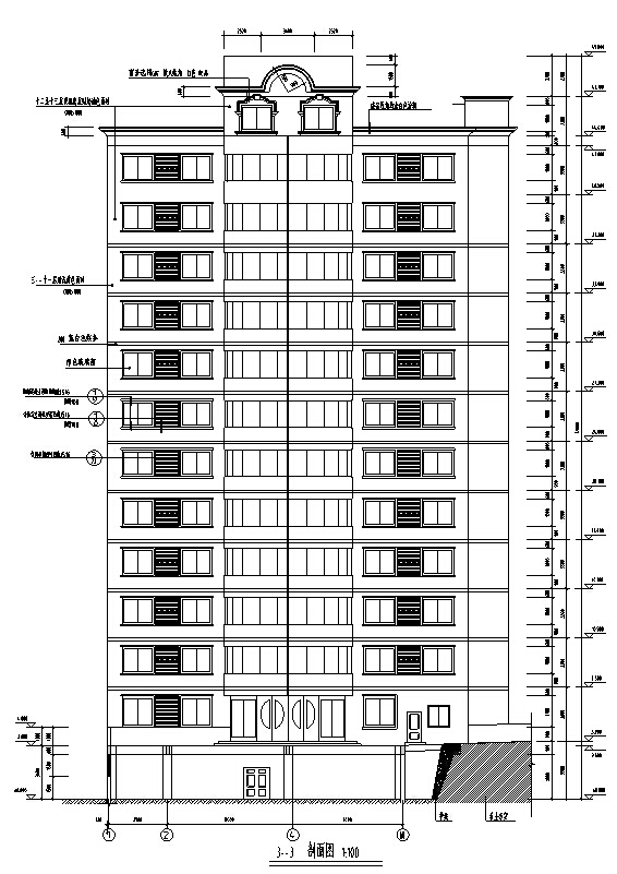 欧式高层商业建筑设计施工图CAD