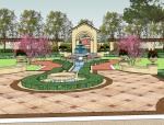 新古典主义居住区广场模型