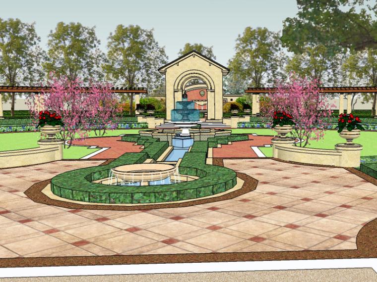 新古典主义居住区广场模型 1
