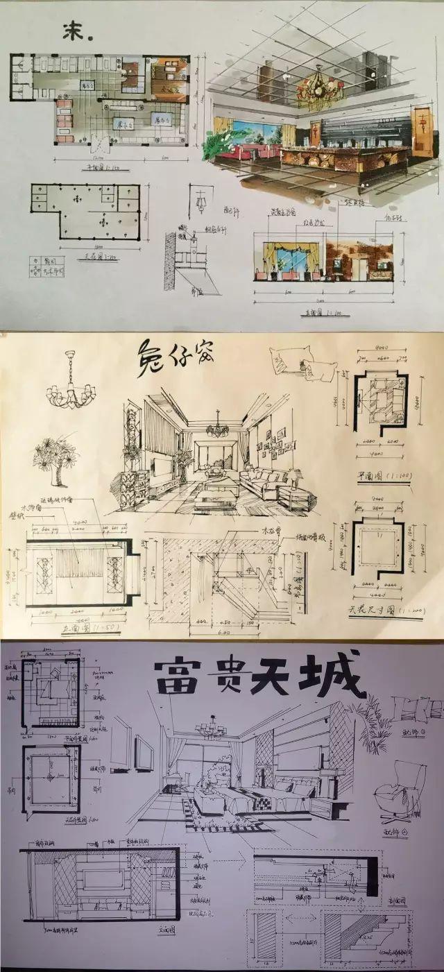 室内手绘 室内设计手绘马克笔上色快题分析图解_41