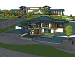 中式风格度假村酒店建筑设计模型
