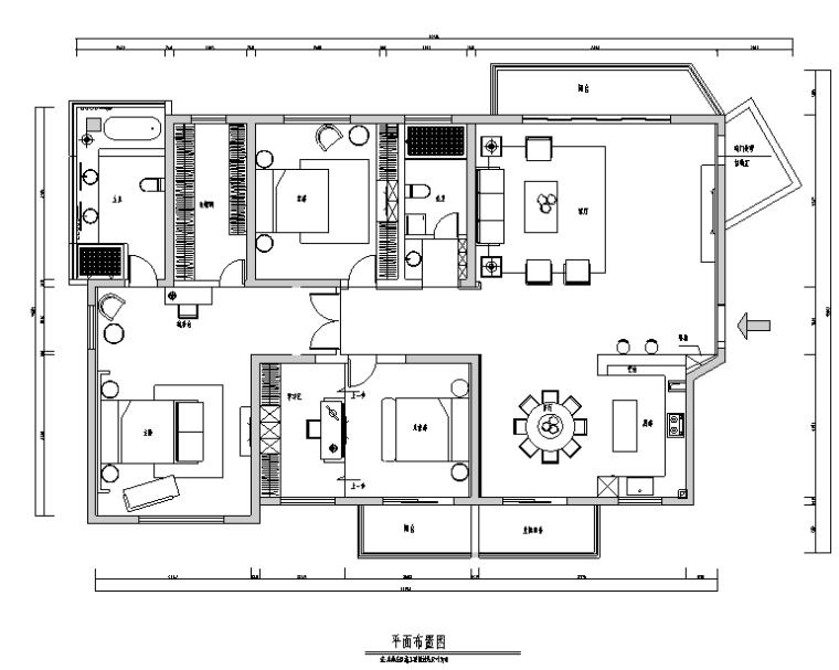 现代中式极简风三居室住宅空间设计施工图(附效果图)