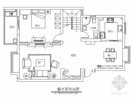 [贵州]现代简约风格复式装修CAD施工图(含效果图)