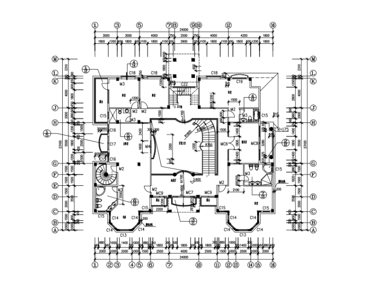 几套别墅的建筑设计方案施工图