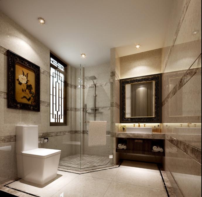某中式二层别墅室内设计施工图(含效果图,施工图JPG)-卫生间效果图