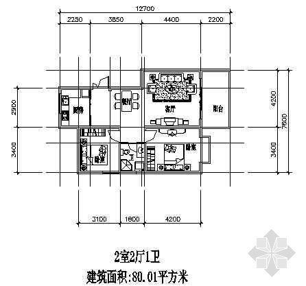 兩室兩廳一廚一衛80.1平方米