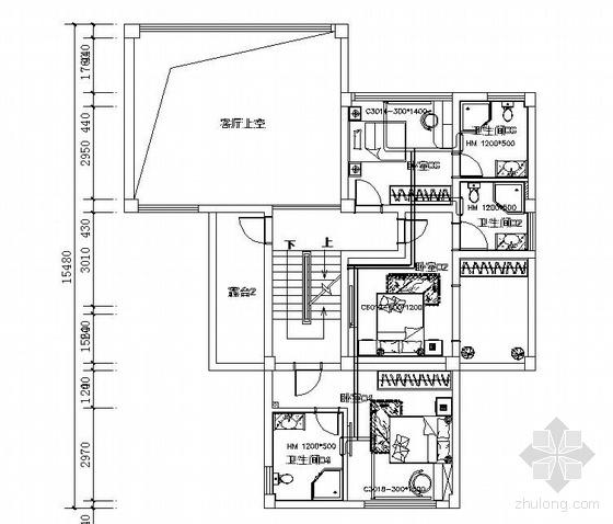 某三层别墅采暖平面图