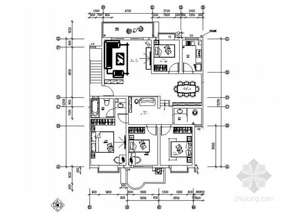 [毕业设计]某现代时尚四居室室内设计图(含效果模型)