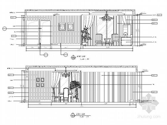 [重庆]时尚现代风格三居室室内装修施工图客餐厅立面图