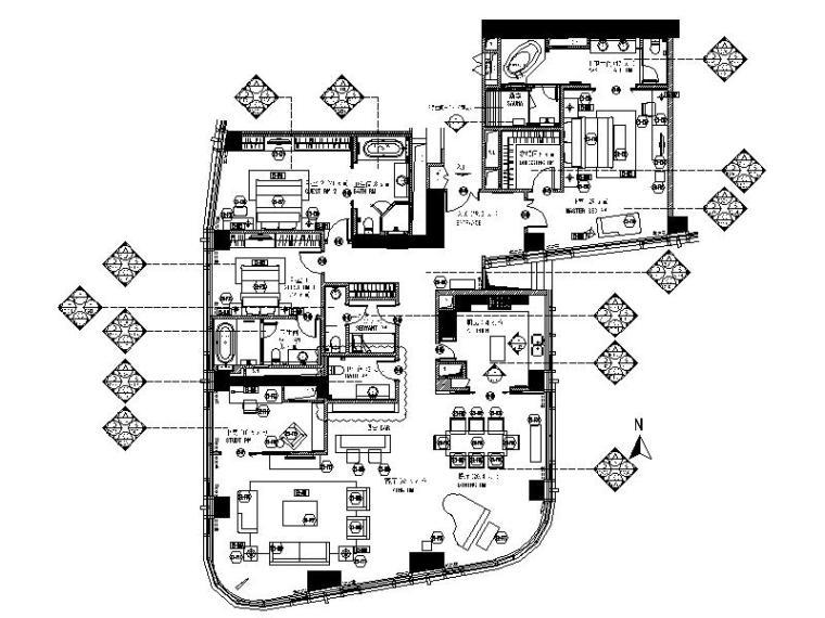 [北京]现代简约住宅3居室样板间室内设计施工图