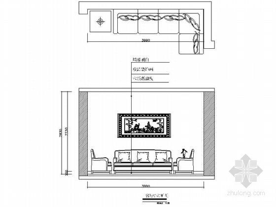 [常德]花园洋房现代简约两居室设计装修图(含效果)客厅立面图