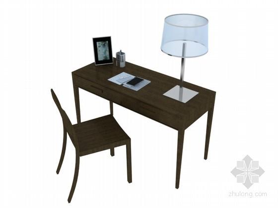 仿古学习桌3D模型下载