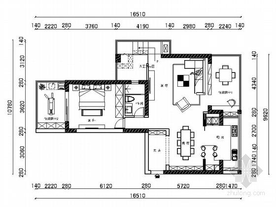 精品现代北欧风小跃层室内装修设计方案施工图(含效果图)