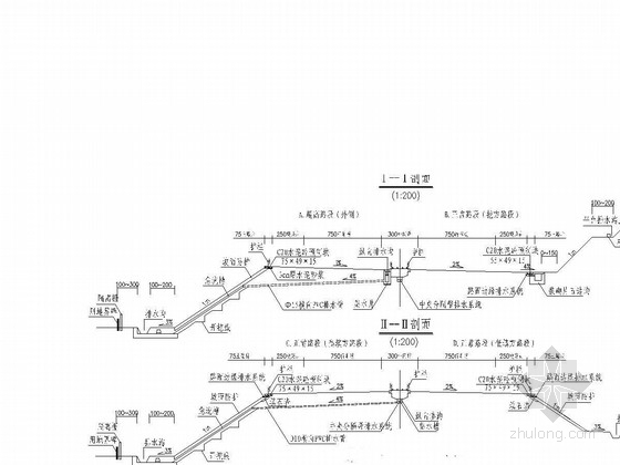 双向四车道高速公路路基路面排水设计图27张(边沟急流槽集水井)-路基路面排水系统剖面图