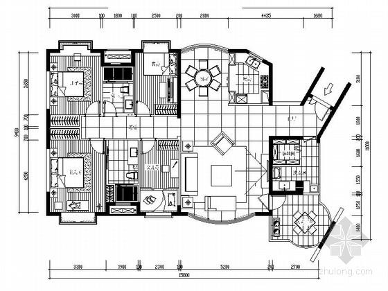 [北京]花园小区古典四居室设计装修图(含效果)