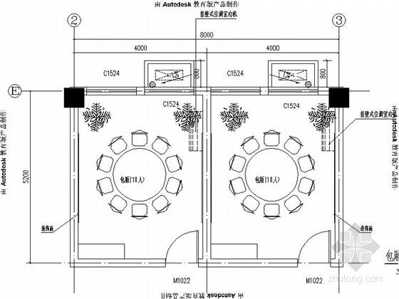 [北京]现代简约大学生食堂包厢室内设计CAD装饰施工图